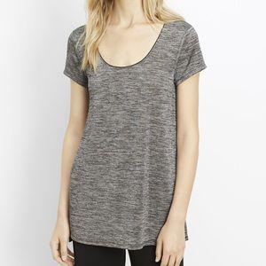 VINCE gray cap short sleeve metallic knit tee